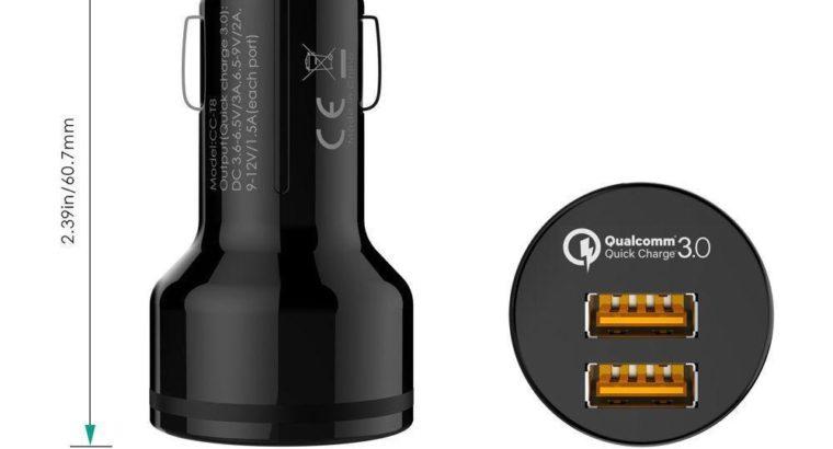 AUKEY CC-T8 Dual QC 3.0 Port, Qualcomm Quick Charge 3.0 USB Car Charger