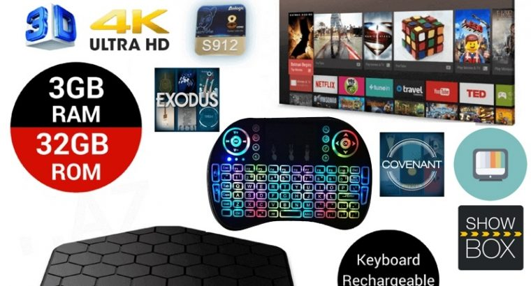 Smart TV Box T95z Plus HD 4K WIFI Octa Core 3GB/32GB Android 7.1 + Wireless Keyboard