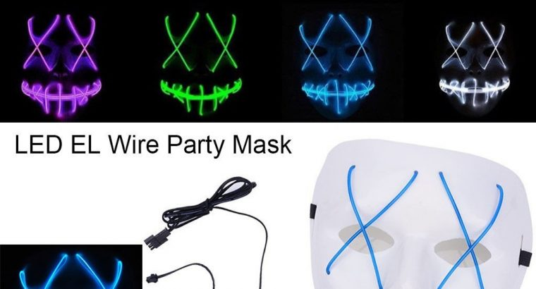 Scary Halloween Mask Light Up Mask EL Wire Cosplay Costume Mask