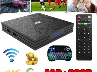 Android Oreo T9 Smart TV Box Quad Core BT 4.0 WIFI 4K Media Player+Backlit keyboard