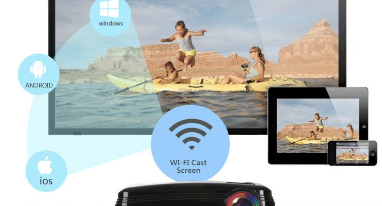 UHAPPY U58 Pro 3200 Lumens LED Video Projector 1280*768 Support 1080P with Android 6.0 Wifi Bluetooth.