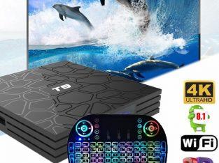 Android 8.1 Oreo T9 Smart TV BOX Quad Core 4GB+32GB 4K H.265 Full HD 1080P+Free Backlit Keyboard